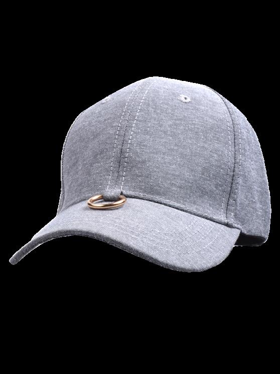 Metal Ring Embellished Baseball Cap - GRAY  Mobile