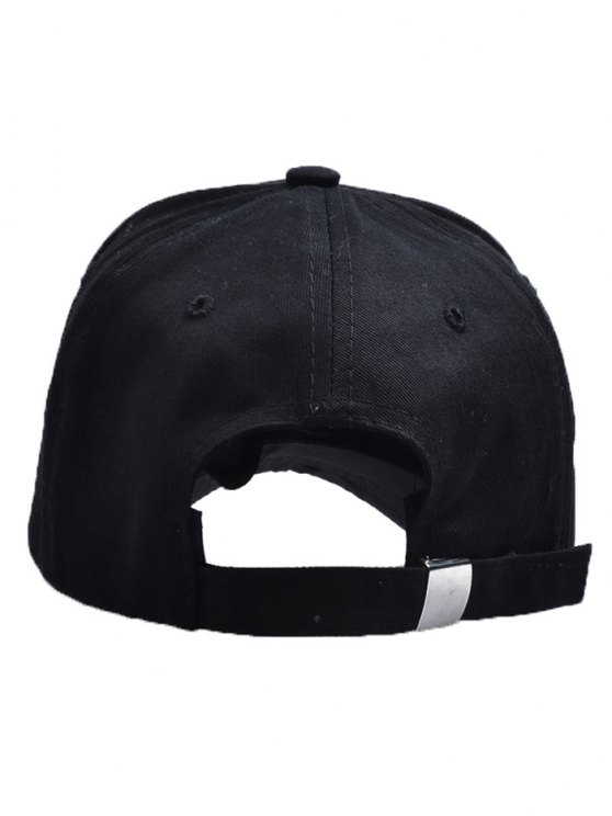 Letters Face Embroidery Baseball Hat - BLACK  Mobile