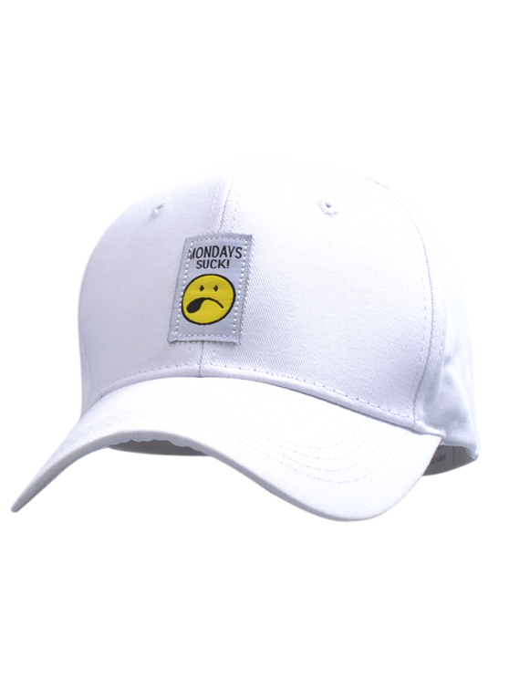 shops Letters Face Embroidery Baseball Hat - WHITE