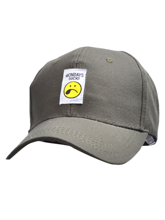 latest Letters Face Embroidery Baseball Hat - PALE GREEN