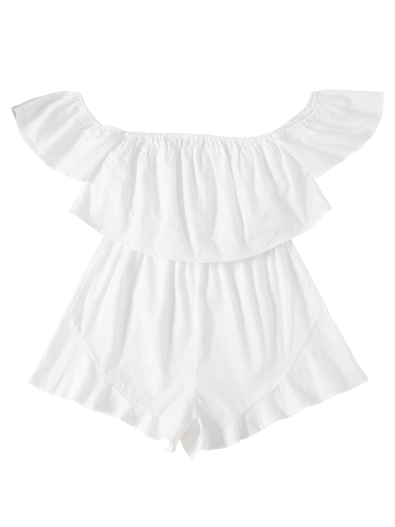 Frilly Off The Shoulder Beach Romper - WHITE S Mobile