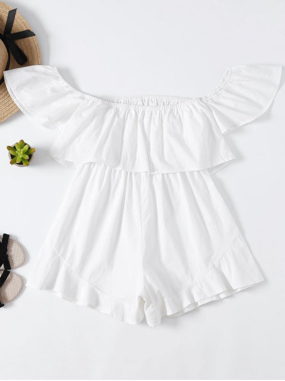 women Frilly Off The Shoulder Beach Romper - WHITE M