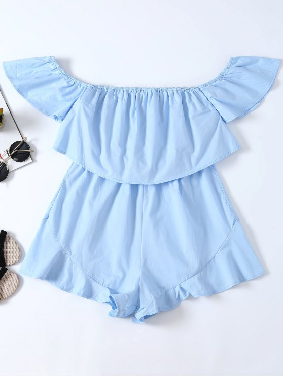 best Frilly Off The Shoulder Beach Romper - BLUE M