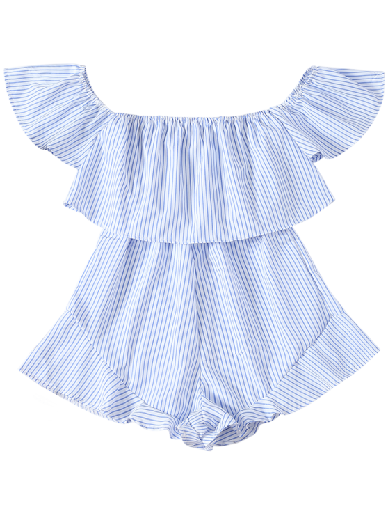 Frilly Off The Shoulder Beach Romper - BLUE AND WHITE S Mobile