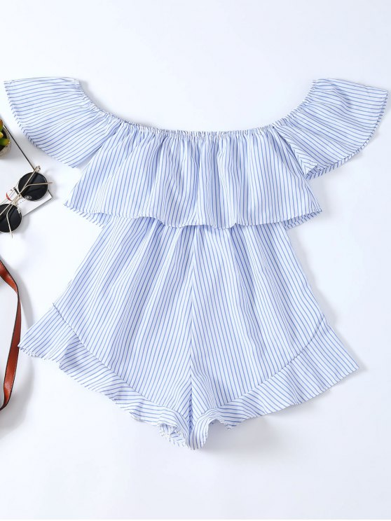 Frilly Off The Shoulder Beach Romper - BLUE AND WHITE XL Mobile