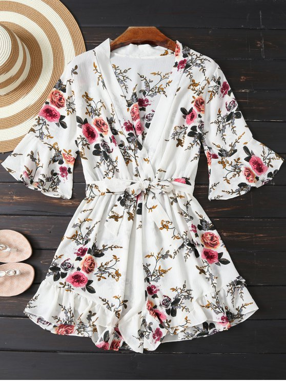 latest Floral Plunging Neck Belted Romper - WHITE M