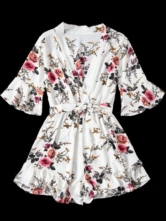 Floral Plunging Neck Belted Romper - WHITE M Mobile