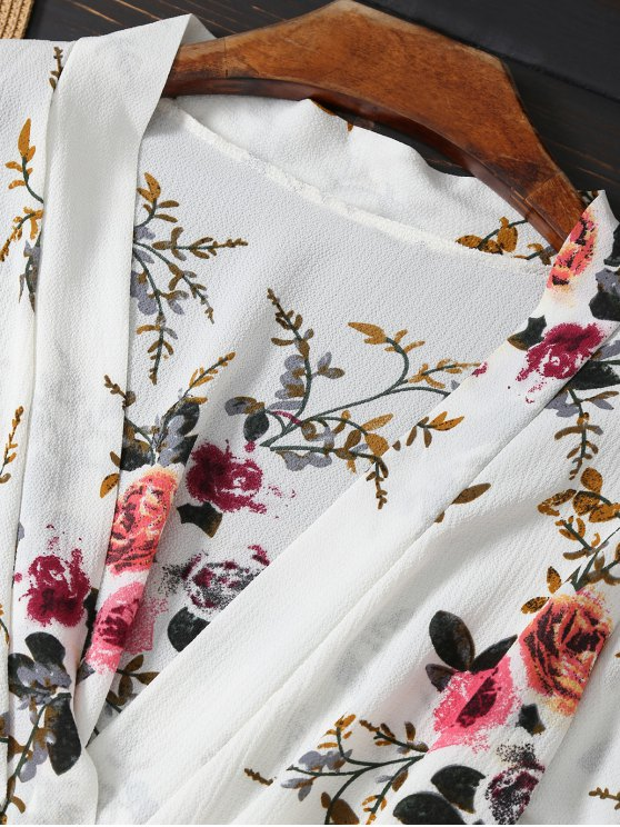 Floral Plunging Neck Belted Romper - WHITE S Mobile