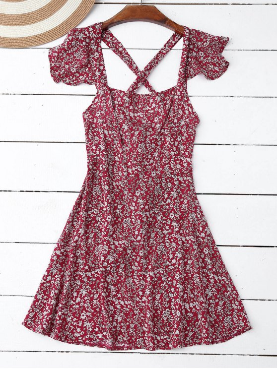 Riza Tiny Cruz floral Volver vestido - Rojo L