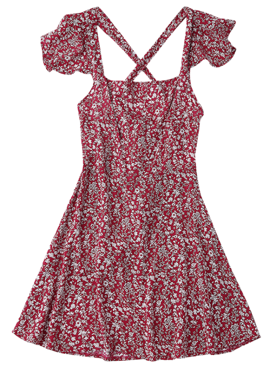 Ruffles Tiny Floral Cross Back Dress - RED M Mobile