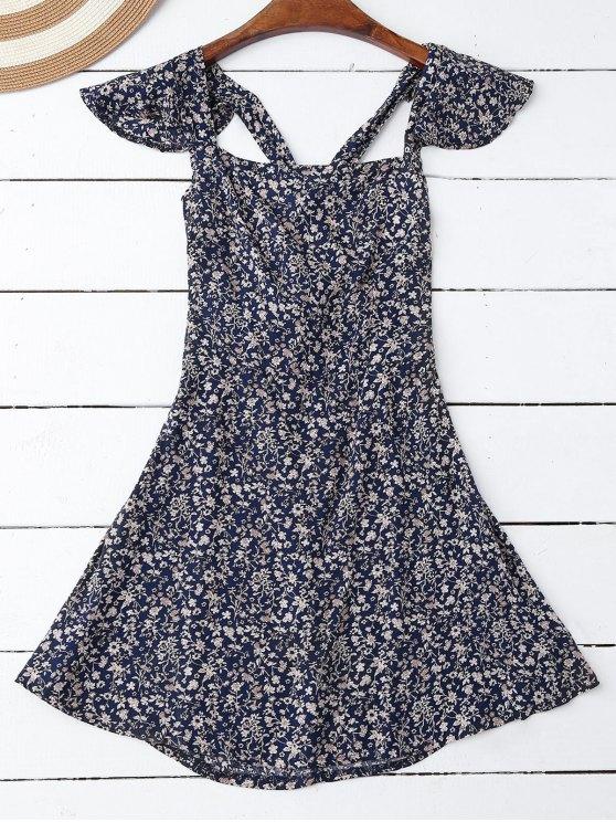 Riza Tiny Cruz floral Volver vestido - Azul Purpúreo M