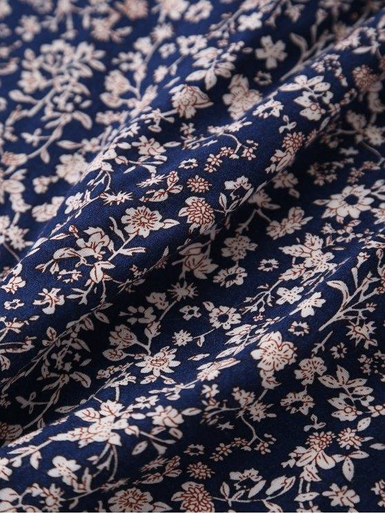 Ruffles Tiny Floral Cross Back Dress - PURPLISH BLUE S Mobile