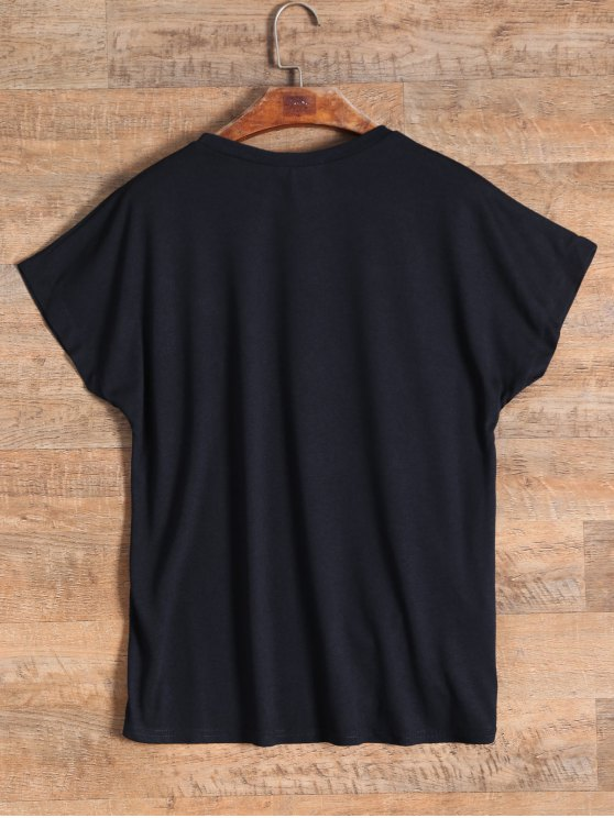 Ruched Flower Embroidered T-Shirt - BLACK ONE SIZE Mobile