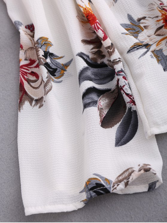 Floral Off Shoulder Choker Blouse - COLORMIX S Mobile
