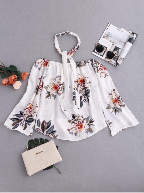 Floral Off Shoulder Choker Blouse - COLORMIX XL Mobile