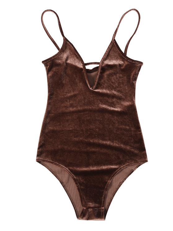 High Cut Velvet Cami Bodysuit - BROWN M Mobile