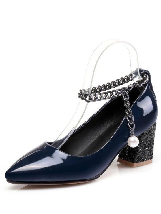 Block Heel Chain Faux Pearl Pumps - DEEP BLUE 37 Mobile