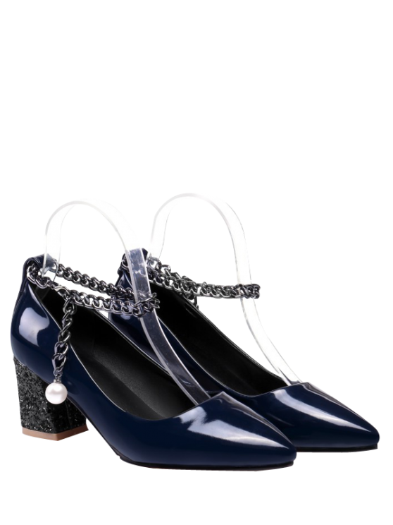 fancy Block Heel Chain Faux Pearl Pumps - DEEP BLUE 38