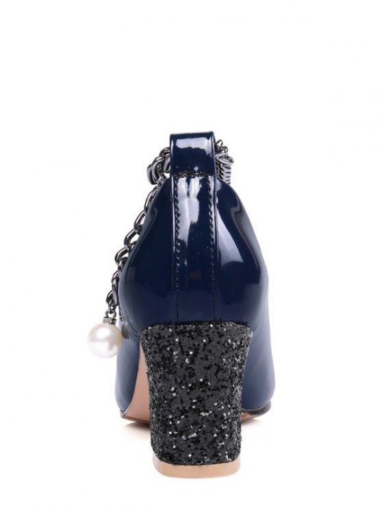 Block Heel Chain Faux Pearl Pumps - DEEP BLUE 38 Mobile