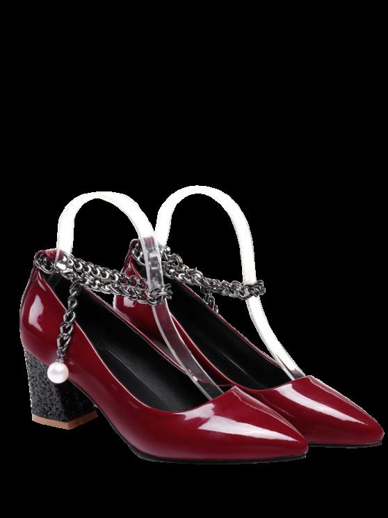 sale Block Heel Chain Faux Pearl Pumps - WINE RED 39