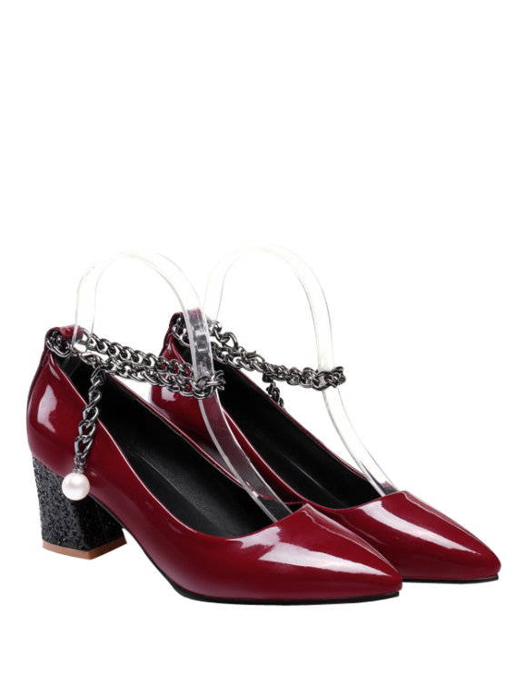 affordable Block Heel Chain Faux Pearl Pumps - WINE RED 37