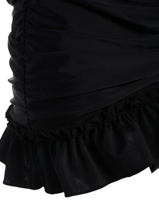 Low Back Skirted Halter Tankini Set - BLACK S Mobile
