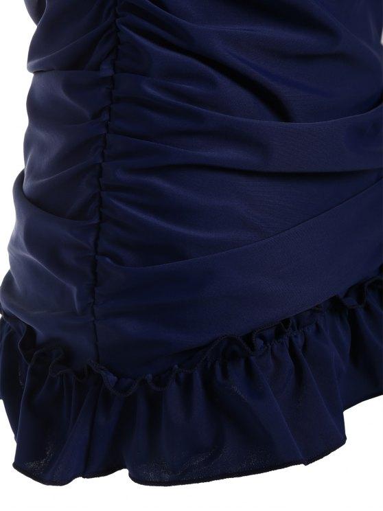 Low Back Skirted Halter Tankini Set - PURPLISH BLUE S Mobile