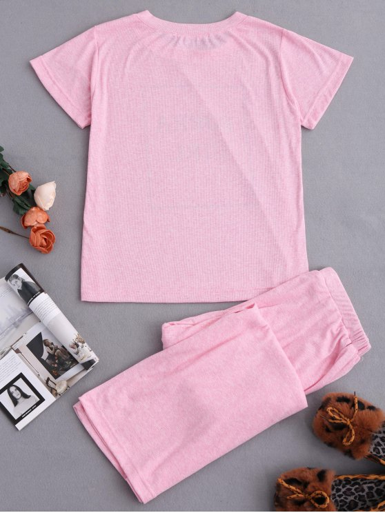 Graphic Top and Wide Leg Pants Sleepwear - BABY PINK S Mobile