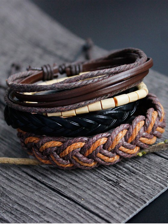 women's Bamboo Woven Faux Leather Bracelet Set - MULTICOLOR