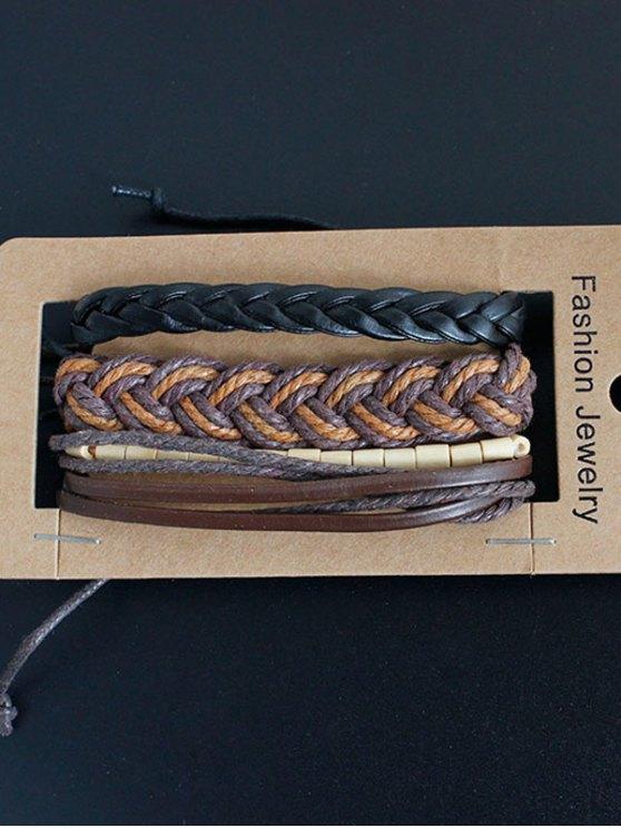 Bamboo Woven Faux Leather Bracelet Set - MULTICOLOR  Mobile