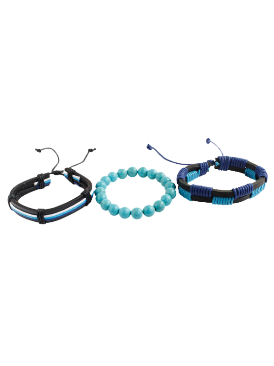 Artuficial Turquoise Leather Woven Bracelet Set - CHARM  Mobile