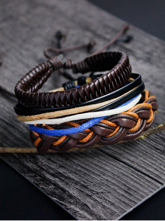 womens PU Rope Woven Layered Bracelet Set - MULTICOLOR