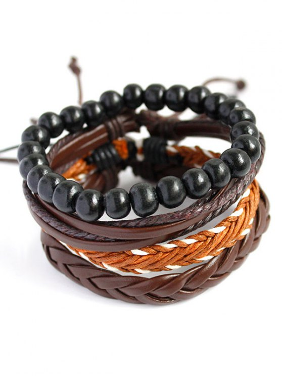 PU Rope Woven Beaded Bracelet Set - BROWN  Mobile