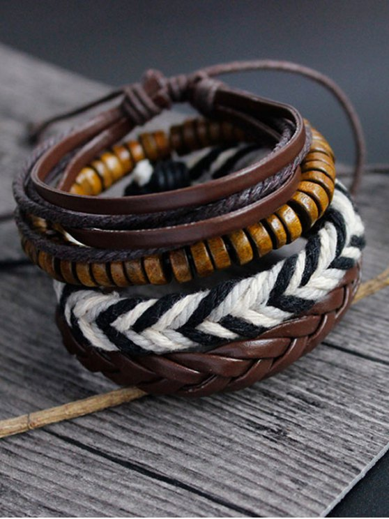 sale Faux Leather Woven Friendship Bracelets - BROWN