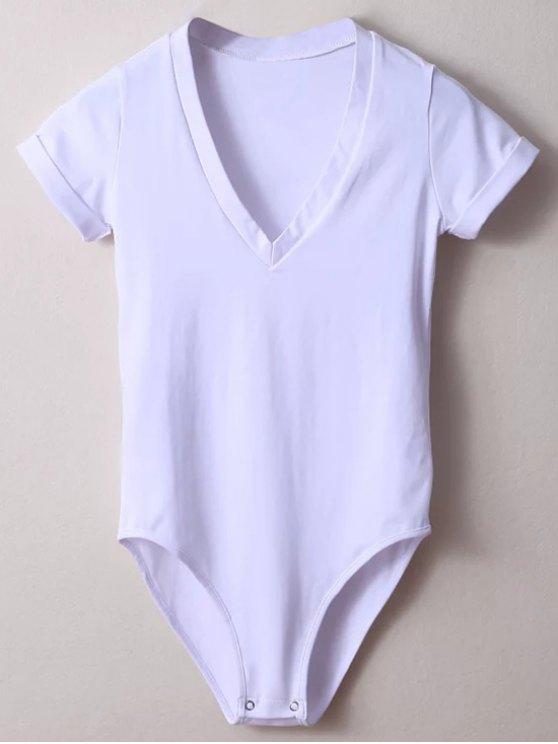 Skinny Plunging Neck Bodysuit - WHITE M Mobile