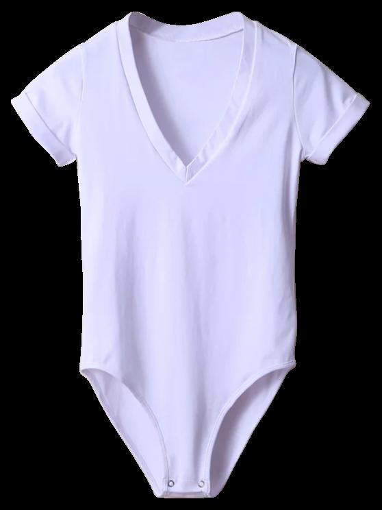 Skinny Plunging Neck Bodysuit - WHITE S Mobile