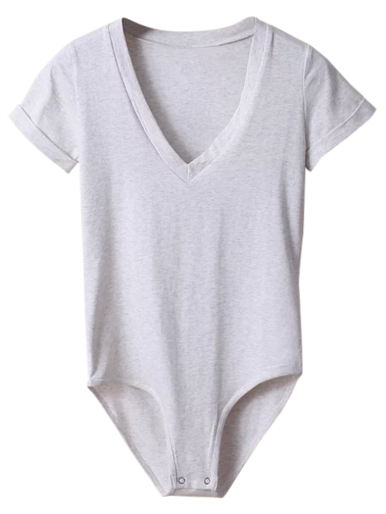 Skinny Plunging Neck Bodysuit - LIGHT GRAY M Mobile