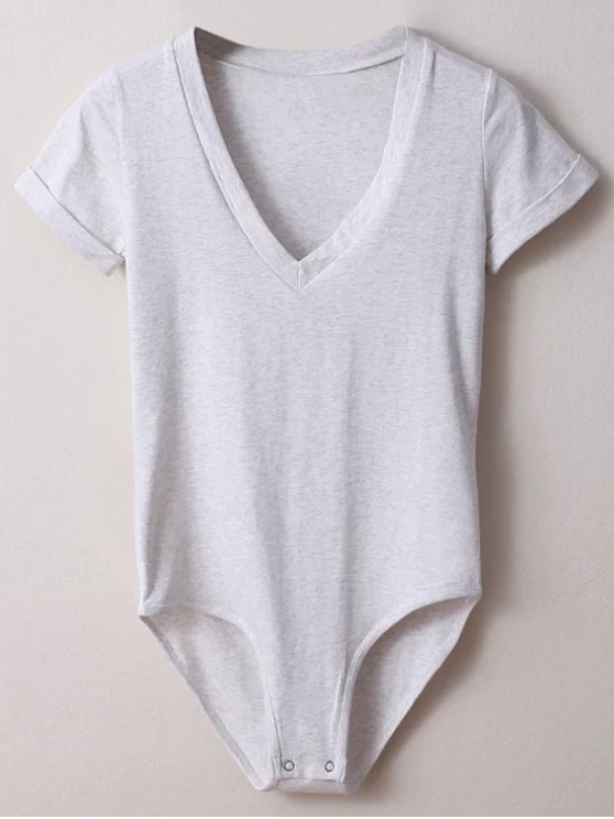 outfits Skinny Plunging Neck Bodysuit - LIGHT GRAY S