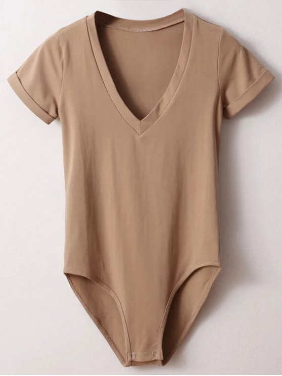 unique Skinny Plunging Neck Bodysuit - KHAKI S