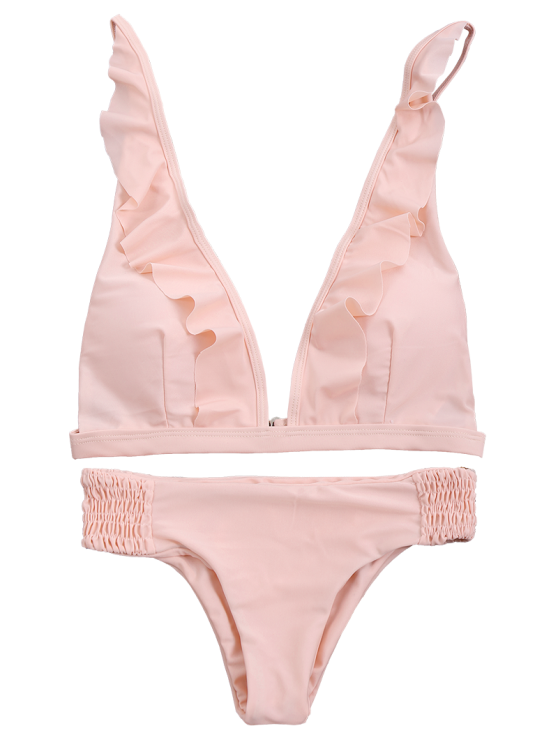 Ruffles Plunge Bathing Suit - PINK S Mobile