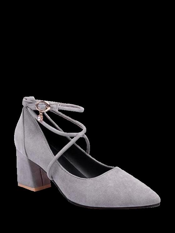 fashion Block Heel Cross Strap Rhinestone Pumps - GRAY 39
