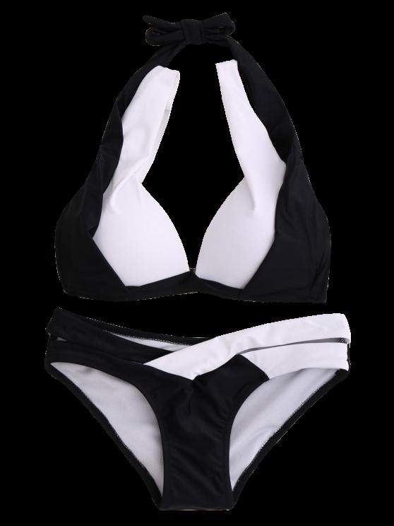 Hit Color Halterneck Bikini Bathing Suit - WHITE AND BLACK M Mobile