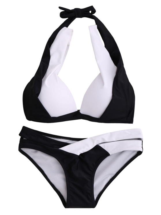 Hit Color Halterneck Bikini Bathing Suit - WHITE AND BLACK S Mobile