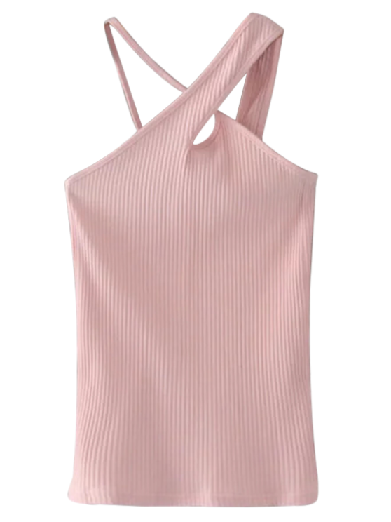 fancy Cross Front Asymmetric Ribbed Top - PINK S
