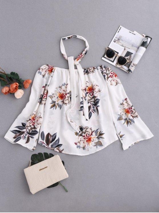 Blusa Floral Cuello Gargantilla al Hombro - Colormix XL