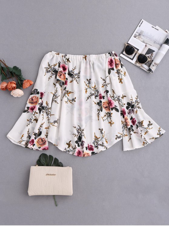 outfit Floral Flare Sleeve Off Shoulder Blouse - WHITE S