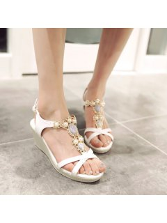 T Strap Faux Leather Sandals - White 38