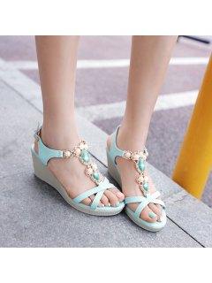 T Strap Faux Leather Sandals - Windsor Blue 37