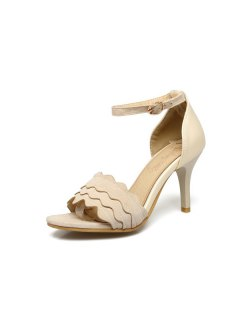 Wavy Edge Faux Leather Sandals - Beige 39