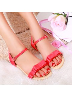 Bow Flat Heel Sandals - Red 39